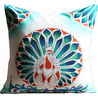 Rangrage - Marbled Peacock Centre - Hand painted - White - Cotton Cushion Cover