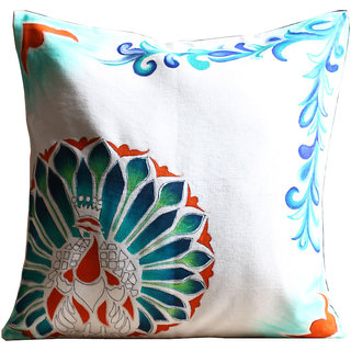Rangrage - Marbled Peacock left - Hand painted -White - Cotton Cushion Cover