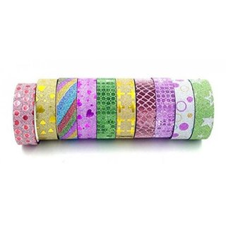 Colourful Decorative Adhesive DESIGN Tape Rolls - Set of 10