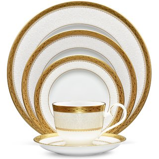 Noritake Odessa Gold- Plates + Cup  Saucer Dinner Plate (Set of 5 Pcs)