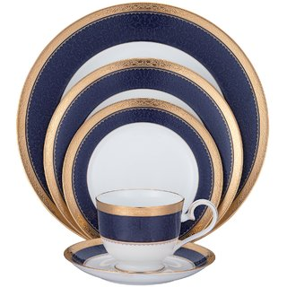 Noritake Odessa Cobalt Gold - Plates + Cup  Saucer Dinner Set ( Set of 5 Pcs)