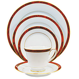 Noritake Marble Red - Plates + Cup  Saucers Dinner Set ( Set of 5 Pcs )