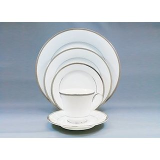 Noritake Toorak Platinum - Plates + Cup  Saucer Dinner Set ( Set of 5 Pcs)