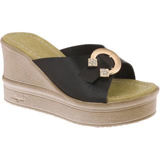 T-Strap Women Black Wedges Sandals