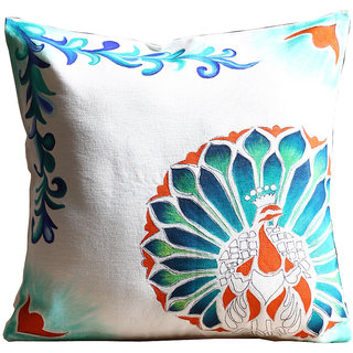 Rangrage - Marbled Peacock Right - Hand painted - White - Cotton Cushion Cover