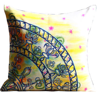 Rangrage - Marbled Motif - Hand painted - White - Cotton Cushion Cover