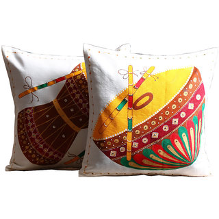 Rangrage - Nagada Damaru - Combo - Hand painted - White - Cotton Cushion Cover