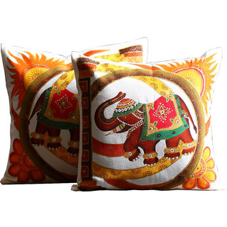 Rangrage - Royal Elephant Set - Hand painted -White - Cotton Cushion Cover