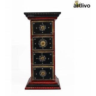 ARTLIVO 4 Drawer Pillar Table  Red TA007