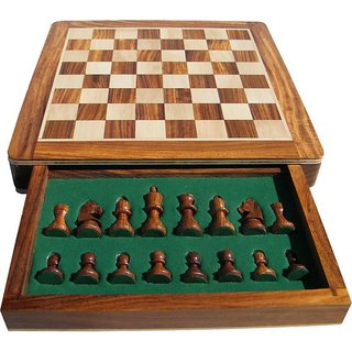 Triple S Handicrafts 10 Inch Magnetic 10 inch Chess Board  (Brown, Yellow)