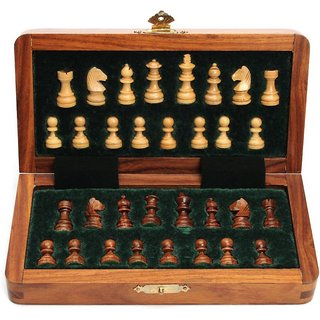 Triple S Handicrafts Handmade Collectible Magnetic 12 inch Chess Board  (Brown, Yellow)