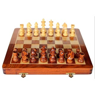 Triple S Handicrafts Foldable 8 inch Chess Board (Yellow, Brown)