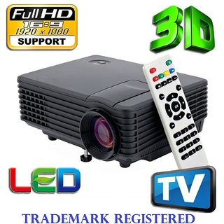 FULL HD RD805 LED PROJECTOR WITH 1920X1280PIXEL RESOLUTION WITH 40000HRS LAMP LIFE HDMI VGA CABLE TV INBUILT SPEAKER