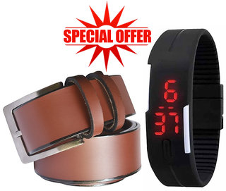 Jack Klein Combo of  Brown Leatherite Pin Buckle Belt And Robotic Magnetic LED Black Watch