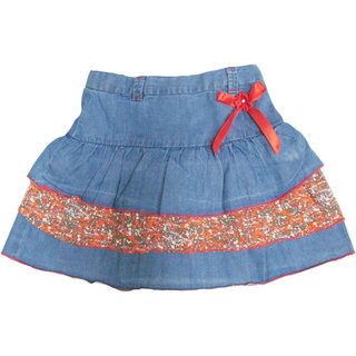 GIRLS DENIM LIGHT WASH SKIRT WITH 3 FRILLS
