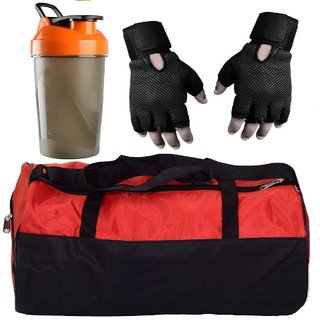 CP Bigbasket Combo Set Polyester Red Sport Gym Duffle Bag shoe compartment, Gym Shaker (400 ml), Netted Gym Glove(Black)
