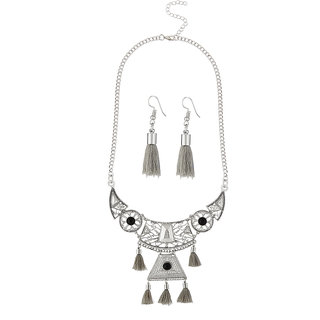 JewelMaze Rhodium Plated Grey Thread Necklace Set