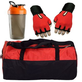 CP Bigbasket Combo Set Polyester Red Sport Gym Duffle Bag shoe compartment, Gym Shaker (400 ml), Netted Gym Glove(Red)