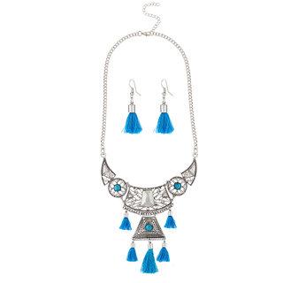 JewelMaze Thread Rhodium Plated Necklace Set