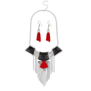 JewelMaze Resin Stone Rhodium Plated Thread Necklace Set