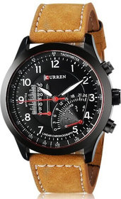 lETEST Curren Brown Synthetic Leather Strap - Black Analog Dial Watch With Temperature Meter Design For Mens  Boys