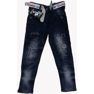 Doverlane Airplane Pocket Dobby Jeans For Kids Light Blue