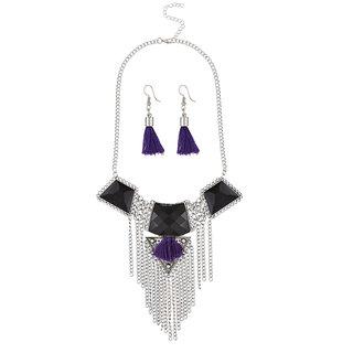 JewelMaze Rhodium Plated Resin Stone Thread Necklace Set