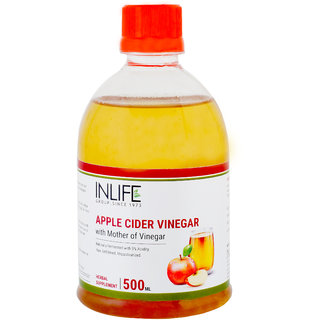 INLIFE Apple Cider Vinegar with Mother Vinegar, Raw, Unfiltered, Unpasteurized Supplement  500 ml