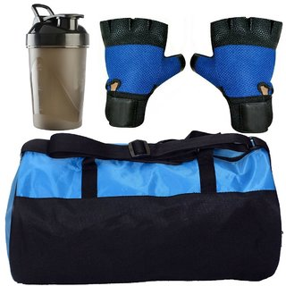CP Bigbasket Combo Set Polyester Blue Sport Gym Duffle Bag shoe compartment, Gym Shaker (400 ml), Netted Gym Glove(Blue)