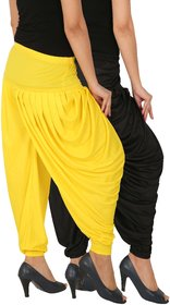 Culture the Dignity Women's Lycra Side Plated Dhoti Patiala Salwar Harem Pants Combo - SPL_DH - BY - Pack of 2 - Black - Yellow
