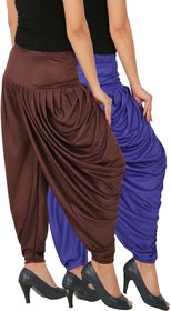 Culture the Dignity Women's Lycra Side Plated Dhoti Patiala Salwar Harem Pants Combo - SPL_DH - B1B2 - Pack of 2 - Blue - Brown