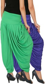 Culture the Dignity Women's Lycra Side Plated Dhoti Patiala Salwar Harem Pants Combo - SPL_DH - B1G - Pack of 2 - Blue - Green