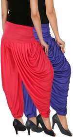 Culture the Dignity Women's Lycra Side Plated Dhoti Patiala Salwar Harem Pants Combo - SPL_DH - B1P - Pack of 2 - Blue - Pink