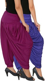 Culture the Dignity Women's Lycra Side Plated Dhoti Patiala Salwar Harem Pants Combo - SPL_DH - B1P1 - Pack of 2 - Blue - Purple