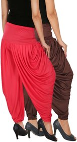Culture the Dignity Women's Lycra Side Plated Dhoti Patiala Salwar Harem Pants Combo - SPL_DH - B2P - Pack of 2 - Brown - Pink