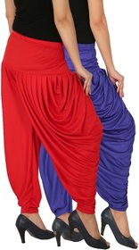 Culture the Dignity Women's Lycra Side Plated Dhoti Patiala Salwar Harem Pants Combo - SPL_DH - B1R - Pack of 2 - Blue - Red