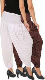 Culture the Dignity Women's Lycra Side Plated Dhoti Patiala Salwar Harem Pants Combo - SPL_DH - B2W - Pack of 2 - Brown - White