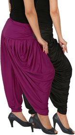 Culture the Dignity Women's Lycra Side Plated Dhoti Patiala Salwar Harem Pants Combo - SPL_DH - BP1 - Pack of 2 - Black - Purple
