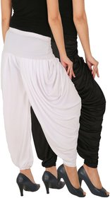 Culture the Dignity Women's Lycra Side Plated Dhoti Patiala Salwar Harem Pants Combo - SPL_DH - BW - Pack of 2 - Black - White