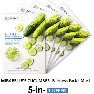 Mirabelle Korea Cucumber Fairness Facial Mask (A Pack Of 5)