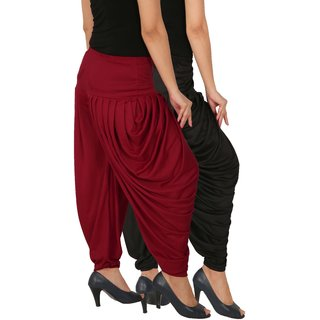 Culture the Dignity Women's Lycra Side Plated Dhoti Patiala Salwar Harem Pants Combo - SPL_DH - BM - Pack of 2 - Black - Maroon