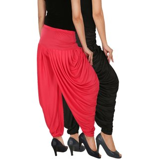 Culture the Dignity Women's Lycra Side Plated Dhoti Patiala Salwar Harem Pants Combo - SPL_DH - BP - Pack of 2 - Black - Pink
