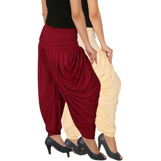Culture the Dignity Women's Lycra Side Plated Dhoti Patiala Salwar Harem Pants Combo - SPL_DH - CM - Pack of 2 - Cream - Maroon