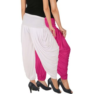 Culture the Dignity Women's Lycra Side Plated Dhoti Patiala Salwar Harem Pants Combo - SPL_DH - M1W - Pack of 2 - Magenta - White