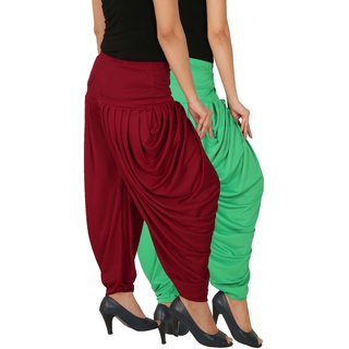 Culture the Dignity Women's Lycra Side Plated Dhoti Patiala Salwar Harem Pants Combo - SPL_DH - GM - Pack of 2 - Green - Maroon