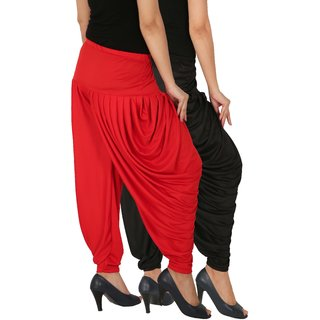 Culture the Dignity Women's Lycra Side Plated Dhoti Patiala Salwar Harem Pants Combo - SPL_DH - BR - Pack of 2 - Black - Red