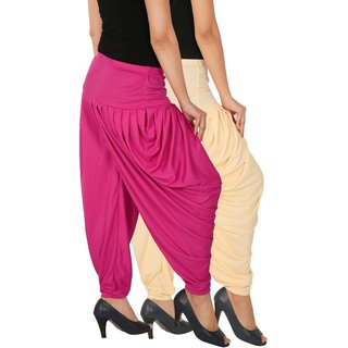 Culture the Dignity Women's Lycra Side Plated Dhoti Patiala Salwar Harem Pants Combo - SPL_DH - CM1 - Pack of 2 - Cream - Magenta