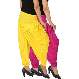 Culture the Dignity Women's Lycra Side Plated Dhoti Patiala Salwar Harem Pants Combo - SPL_DH - M1Y - Pack of 2 - Magenta - Yellow