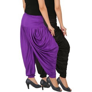 Culture the Dignity Women's Lycra Side Plated Dhoti Patiala Salwar Harem Pants Combo - SPL_DH - BV - Pack of 2 - Black - Violet