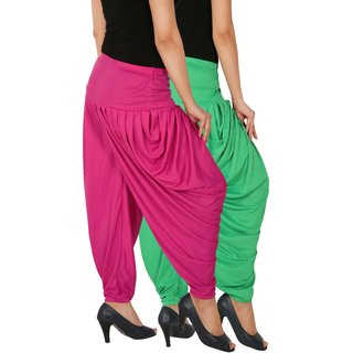 Culture the Dignity Women's Lycra Side Plated Dhoti Patiala Salwar Harem Pants Combo - SPL_DH - GM1 - Pack of 2 - Green - Magenta